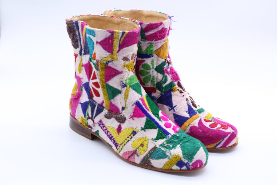 Embroidered Patchwork Boots Romy