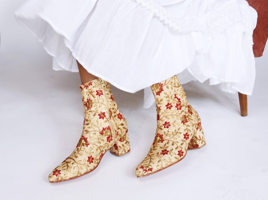 MOMONEWYORK Anthropologie Silk Embroidered Boots Kate