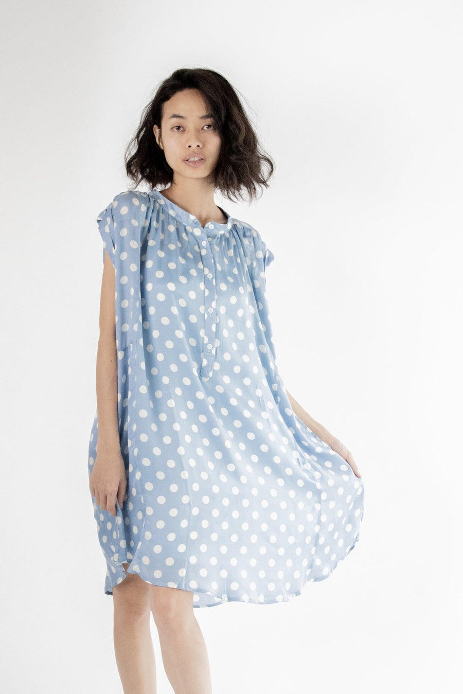 MODAL POLKA DOT LIGHT BLUE DRESS AMANDA MOMO NEW YORK