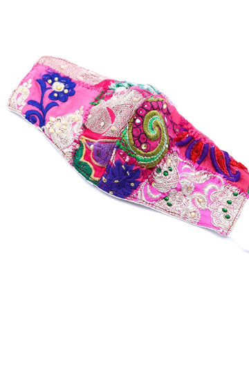 PATCHWORK EMBROIDERED FACE MASK GIVA (Pink) MOMO NEW YORK