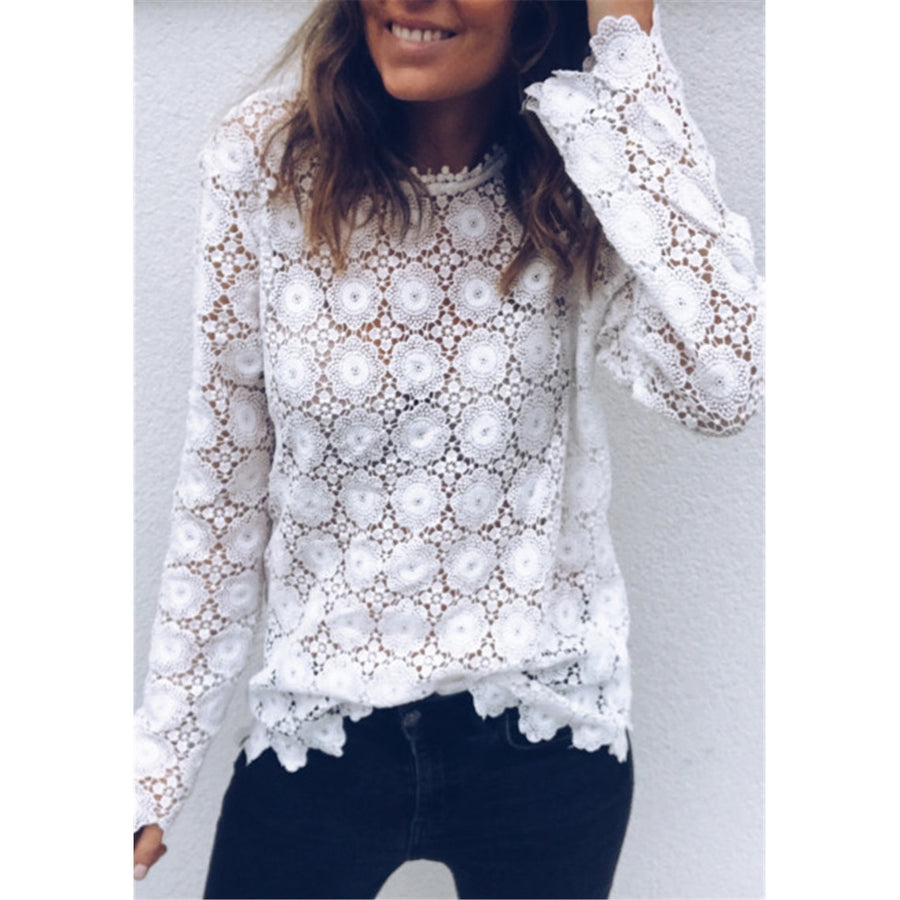 Boho Beach Holiday Loose Casual Chiffon Lace Floral Embroider White Tops Mesh Blouse