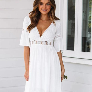 White Dress Max Fall Autumn Free People Beach Tunic Sundress Sexy Lace Crochet Long