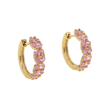 Oval pink cubic zirconia Gold color Hoop earring Claasic  Saks Fifth Avenue Jewelry