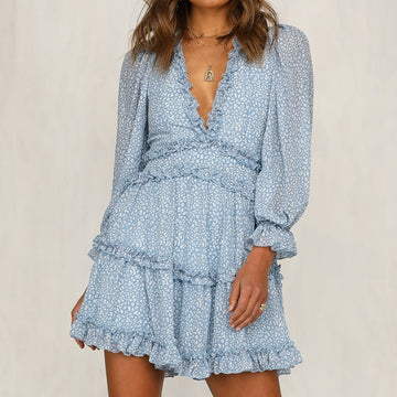 Elegant Ruffle Print Mini Dress Fall / Winter V-neck long-sleeved