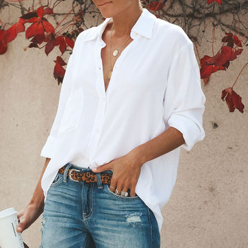 White Shirt Women Long Sleeve Blouse Oversize Loose Basic Office  Tops Casual Boho Fashion