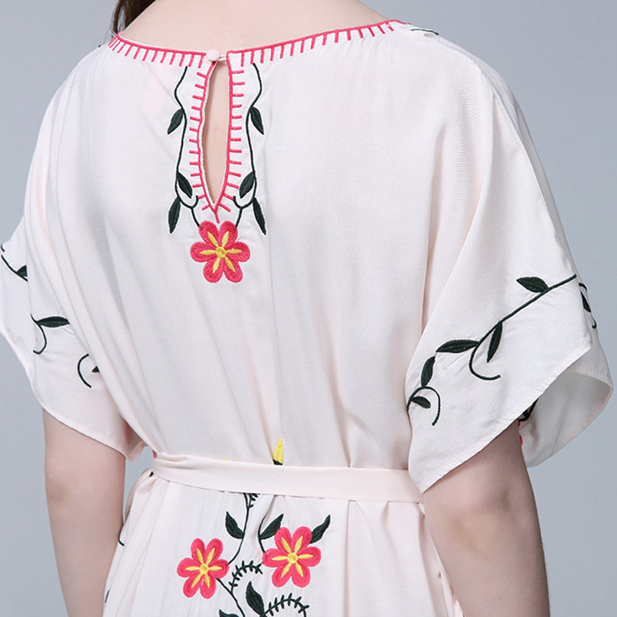 Lacing Floral Embroidery Loose Sexy V neck Short Sleeve Midi Dress Ladies Boho Hippie Long Dress