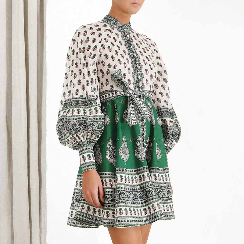 Green Paisley chic boho dress