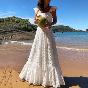 Bohemian White Lace Dress Boho Beach Dresses Chic Women Maxi Dress Womens  Summer Long