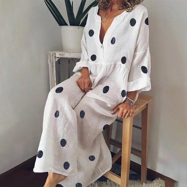 Cotton And Linen Dress  Button Down Maxi Shirt Dress Polka Dot Boho Beach Dress Long Sleeve