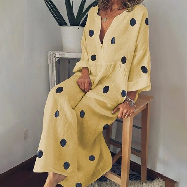Cotton Linen Dress  Button Down Maxi Shirt Dress Polka Dot Boho Dress Long Sleeve