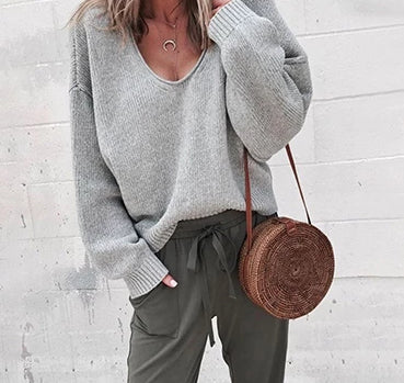 Casual Knitted Sweater  Streetwear V Neck Long Sleeve Loose