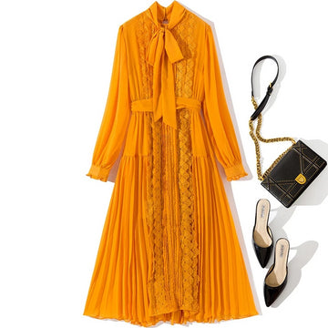 Yellow lace patchwork chiffon dress long sleeve bow collar midi dresses