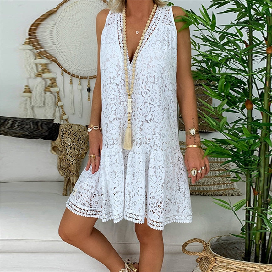 Summer Dress Maxi Bohe Floral Dress Lace Loose Sleeveless