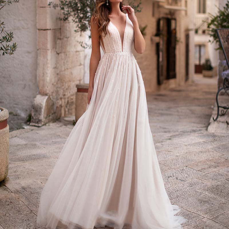 illusion Plunging V-neck Boho-inspired A-line See Through Casual Beaded Tulle Chic Bridal