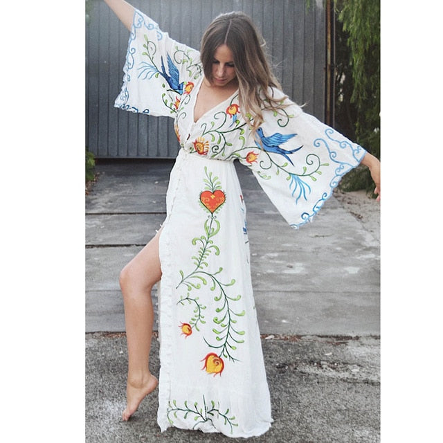 Maxi Dress V-Neck Batwing Sleeve Loose Summer Chic Dresses Drawstring Waist Boho Sabrina