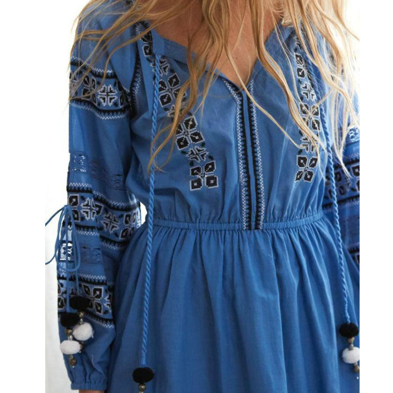 Boho Dress  Hollow Out Party Dresses Full Sleeve Chic Elegant