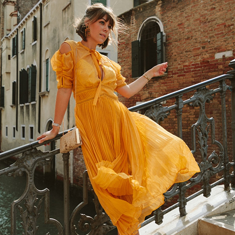 Pleated Yellow Orange Long Dress Boho Chic Maxi Dress Desiree