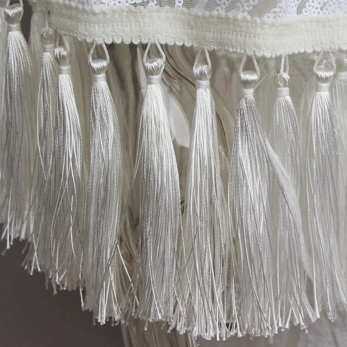 Summer Dress Long Elegant Fringe Dresses Maxi Boho Chic Ladies Loose Dress Lace White Tassel