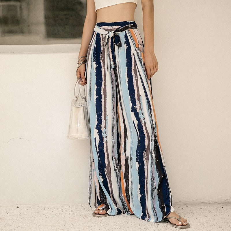 Boho Chic Wide Leg Pants With Stripe Trousers Beach High Waist Mexican Slacks Open Side Slit Pants