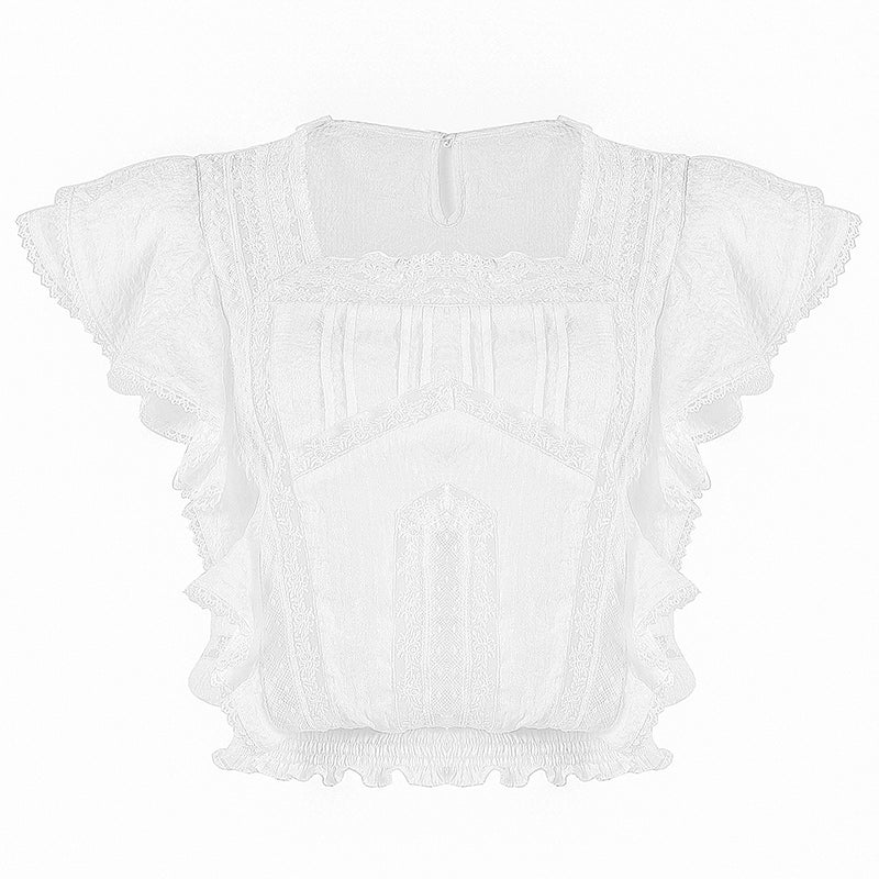 Two Piece Set Boho Chic Ruffles Embroidery Lace Short + Top