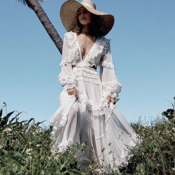 Runway Boho Chic Women White Beach Dress  Cutout Long Sleeve Backless Chiffon