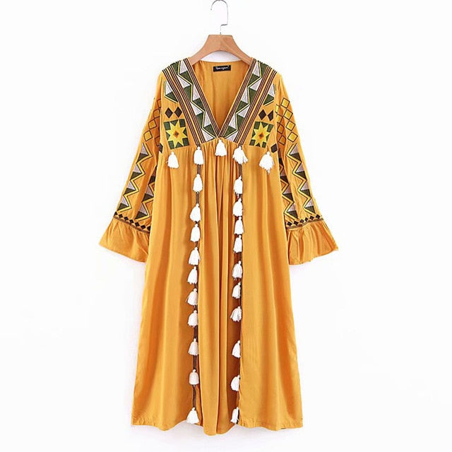 Vintage Embroidery Pompom Tassels Ukraine DressLoose Boho-chic Casual Beach Dress