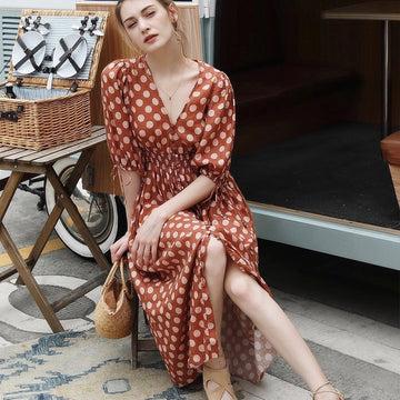 Boho Chic Fall Dress Elegant Single Breasted Midi Dress Orange Polka Dot