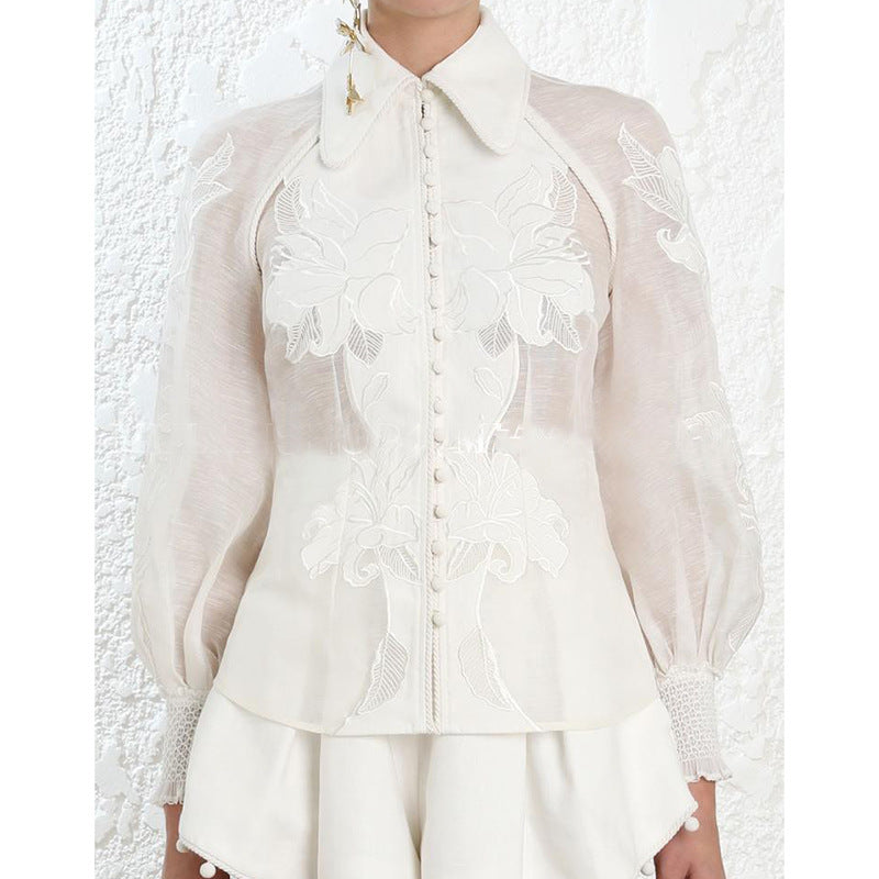 Boho Chic Blouse  White Elegant Suit Collar Single Breasted