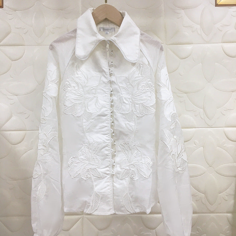 White Fall Boho Chic Blouse Collar Single Breasted Tamia
