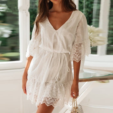 Boho Mini White Short Sleeve Embroidered Elegant V Neck  Bohemian Cotton Lace Dress