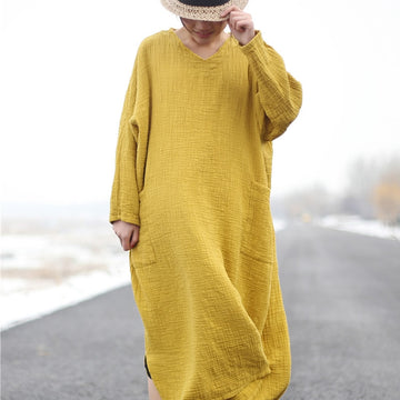 Long sleeve Cotton Plus size Long  Vintage Fall Dress