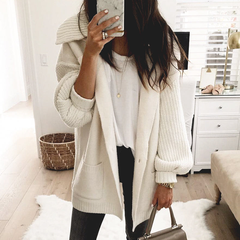 Knitted Cardigan Solid White Pocket Long Cardigan