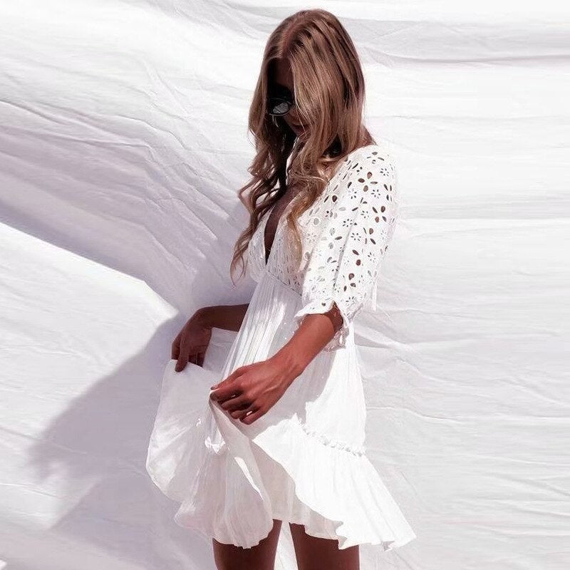 White Dress V-Neck Hollow Out Beach Party Dress