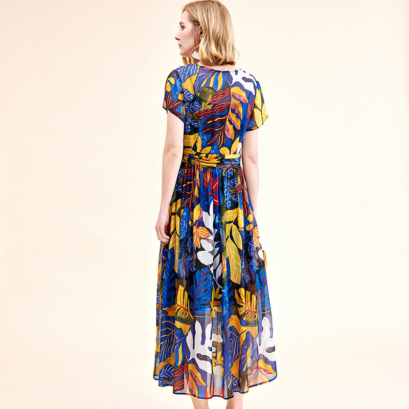 Floral silk dress tube maxi plus size boho beach long dresses rockabilly robe Bohemia blue belt