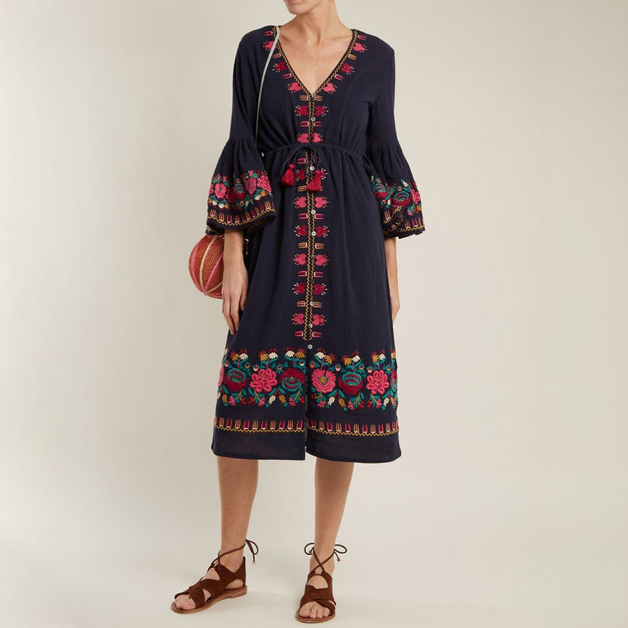 Boho Floral Embroidery Long Dress  Retro Flare Long Sleeve V neck Black Dresses Ladies Hippie Beach Midi Dress
