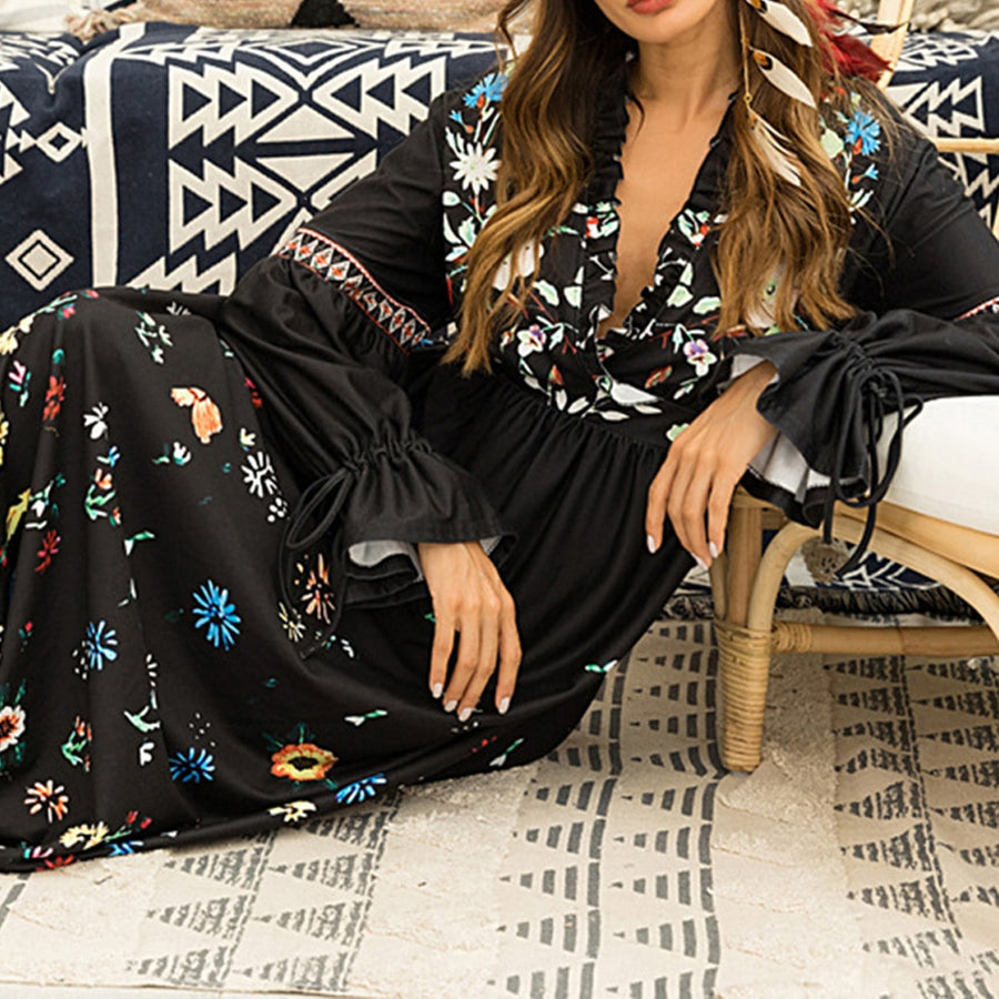 Summer Floral Print Maxi Dress Sexy V Neck Long Sleeve Beach Dresses Boho