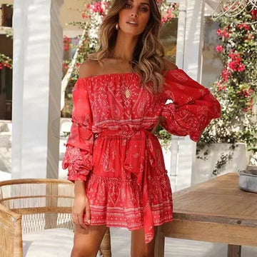Cuerly Off shoulder print bow boho beach dress  Puff sleeve short party dress