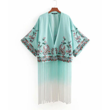 Boho Kimono Embroidery Summer Autumn Floral Blouse Sexy Flare Sleeve Chic Gradient Fringe Hippie Beach Wear Blouse