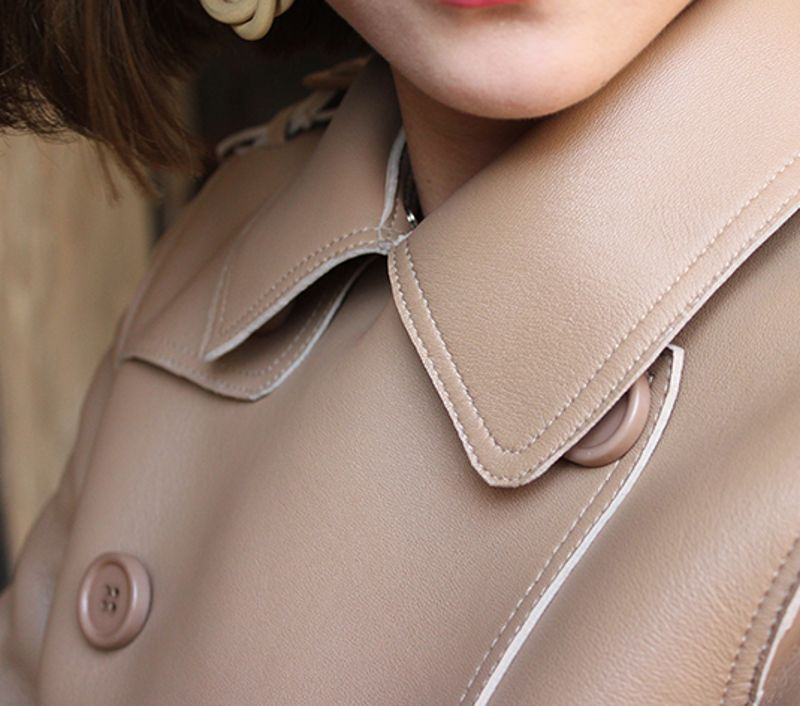 Elegant Women Sashes Double Breasted Long Coats Turn Down Collar Genuine Leather Sheepskin
