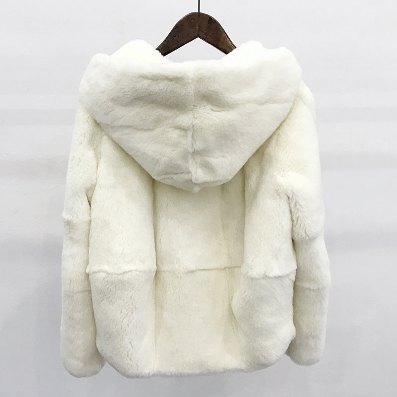 Natural rex rabbit fur jackets women hooded short design long sleeved coats outerwear