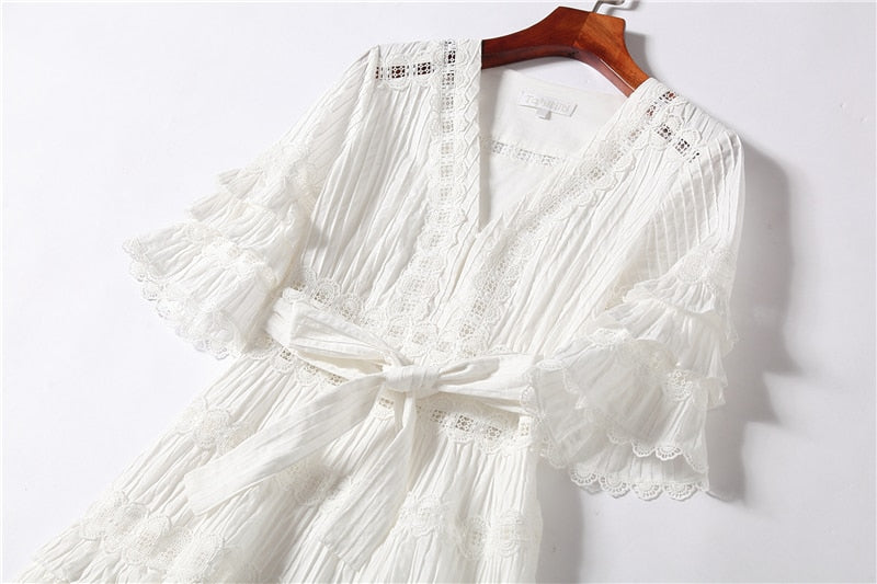 White Lace Dress Female Sexy V-neck Cotton Hollow Out Dress Ladies Elegant Ruffles Dress