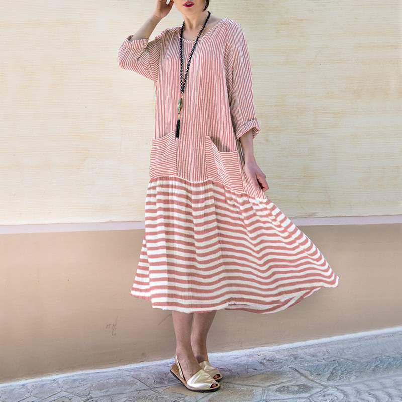Fall Vintage Bohemian Long Dress Casual Long Sleeve Oversize Comfy Dress