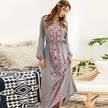 Fall Boho Dress Women Floral Print Vintage Retro Bohemian Long Sleeve Maxi Dresses
