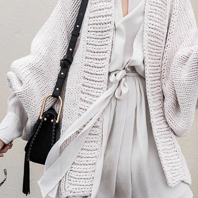Long Batwing Sleeve V-neck Big Size Sweater Cardigan