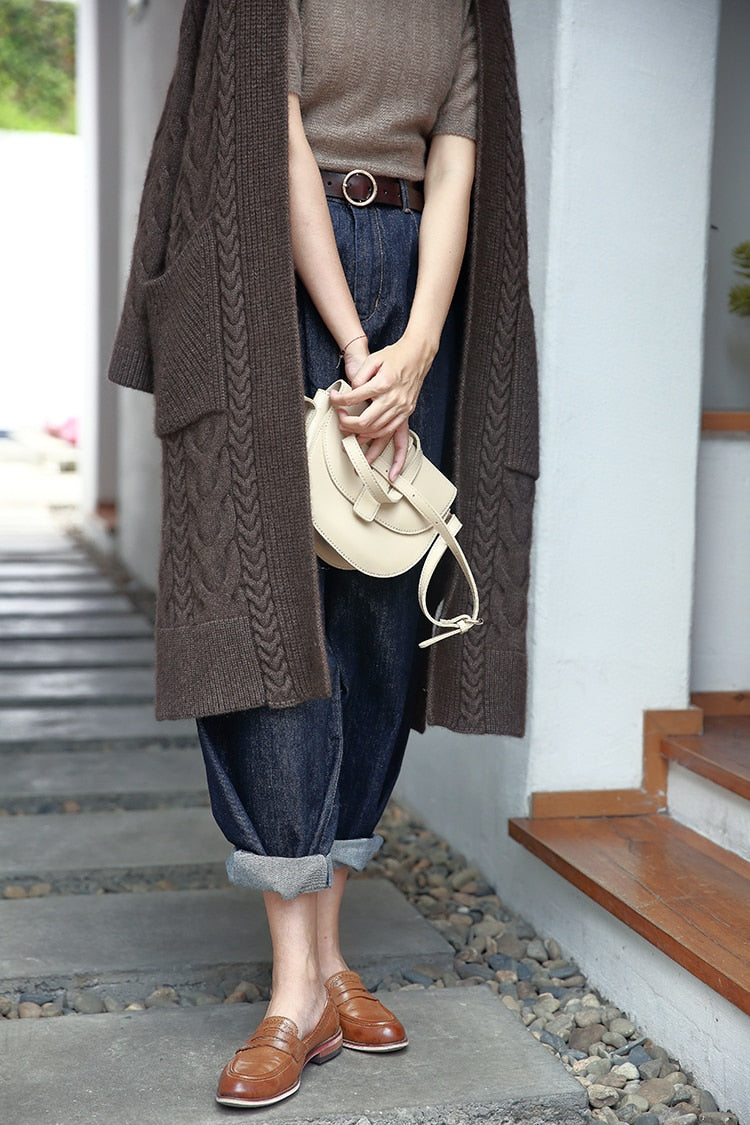 Casual long cable knitted yakwool sweater cardigans Julie