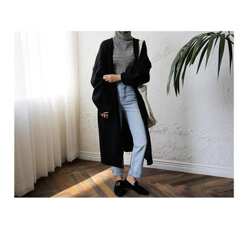 Fashion Harajuku Loose Knit Sweater Women Casual Black Oversized Jacket Coat