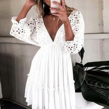 Sexy v neck Free People hollow out white beach sundress women summer batwing