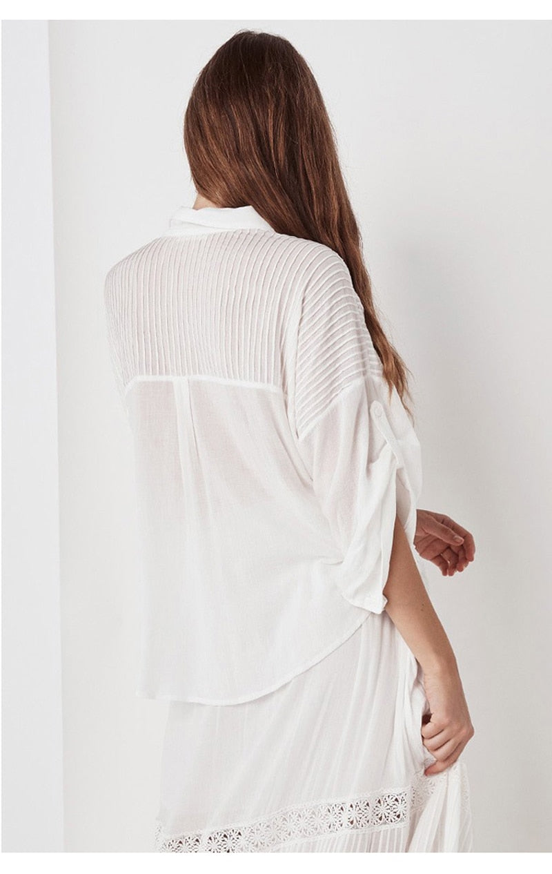 White Cotton Blouse V-neck long sleeve top loose