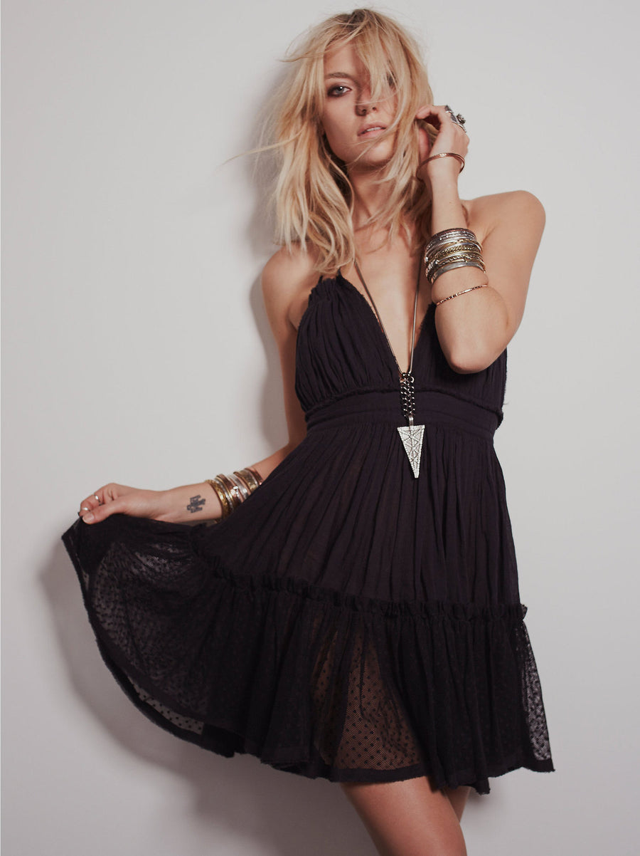 Bohemian Dress Sexy Spaghetti Strap V Neck Backless Beach Dresses Lady