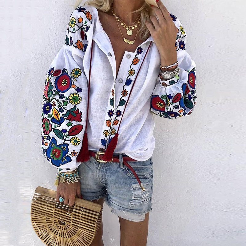 Turn Down Collar Boho Long Sleeve Ethnic Floral Embroidery Blouses
